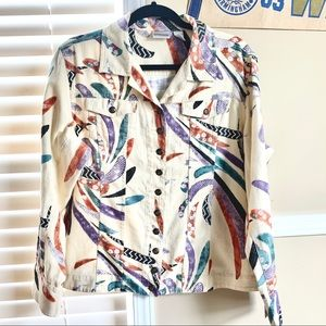 Chico's Safari Feather ButtonUp Lightweight Jacket